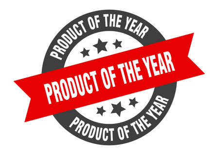 product of the year sign. round isolated sticker. ribbon tag