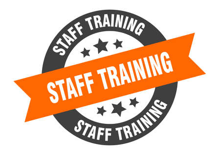staff training sign. round isolated sticker. ribbon tag Stock fotó - 154542535