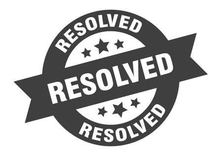 resolved sign. round isolated sticker. ribbon tag Illusztráció