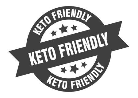 keto friendly sign. round isolated sticker. ribbon tag