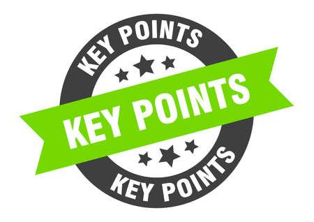 key points sign. round isolated sticker. ribbon tag Illusztráció