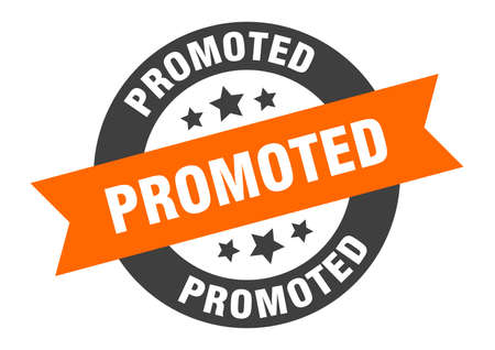 promoted sign. round isolated sticker. ribbon tag Stock fotó - 154542544