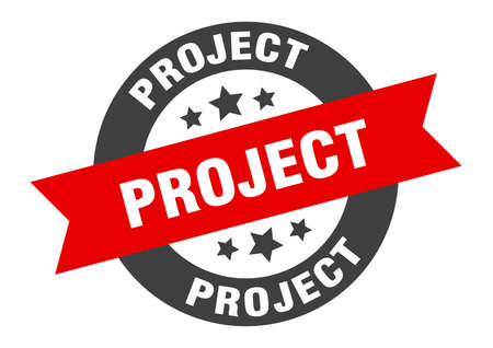 project sign. round isolated sticker. ribbon tag
