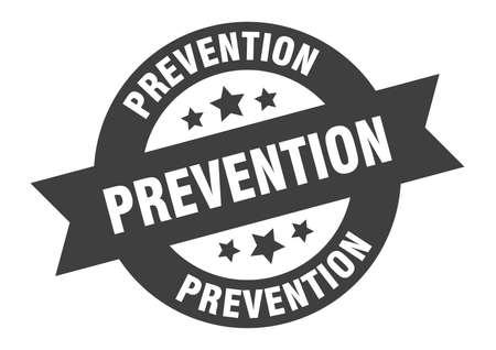 prevention sign. round isolated sticker. ribbon tag Illusztráció