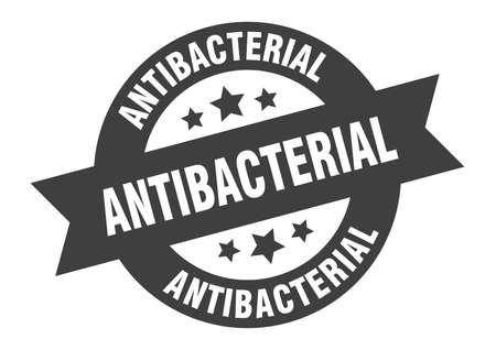 antibacterial sign. round isolated sticker. ribbon tag Illusztráció