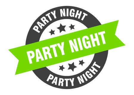 party night sign. round isolated sticker. ribbon tag Stock fotó - 154542550