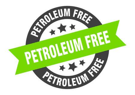 petroleum free sign. round isolated sticker. ribbon tag Illusztráció