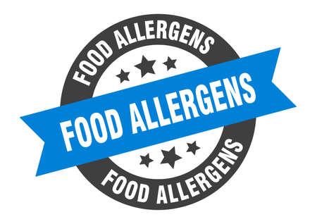food allergens sign. round isolated sticker. ribbon tag Stock fotó - 154542561