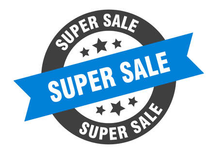super sale sign. round isolated sticker. ribbon tag Stock fotó - 154542570