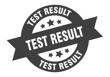 test result sign. round isolated sticker. ribbon tag