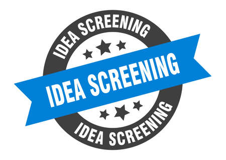 idea screening sign. round isolated sticker. ribbon tag Stock fotó - 154542575