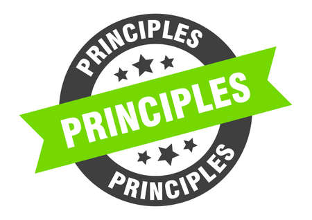 principles sign. round isolated sticker. ribbon tag