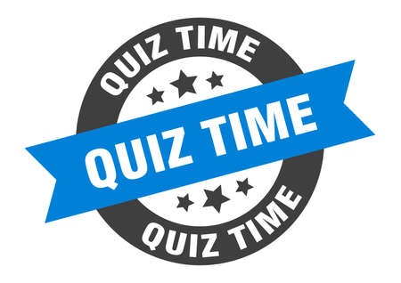 quiz time sign. round isolated sticker. ribbon tag