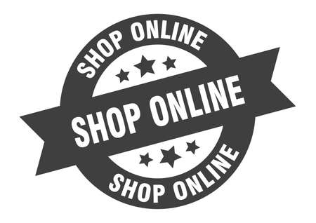 shop online sign. round isolated sticker. ribbon tag