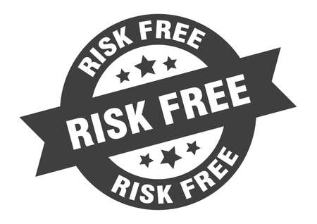 risk free sign. round isolated sticker. ribbon tag
