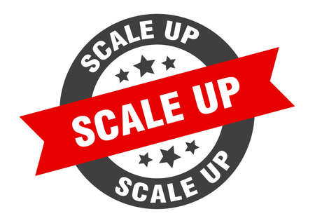 scale up sign. round isolated sticker. ribbon tag Stock fotó - 154542581