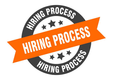hiring process sign. round isolated sticker. ribbon tag Stock fotó - 154542582