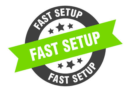 fast setup sign. round isolated sticker. ribbon tag Stock fotó - 154542584