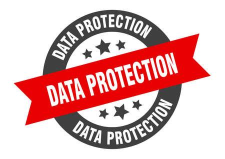 data protection sign. round isolated sticker. ribbon tag Illusztráció