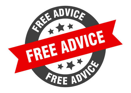 free advice sign. round isolated sticker. ribbon tag