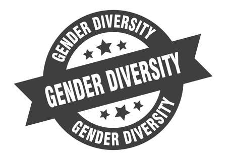 gender diversity sign. round isolated sticker. ribbon tag Stock fotó - 154542587