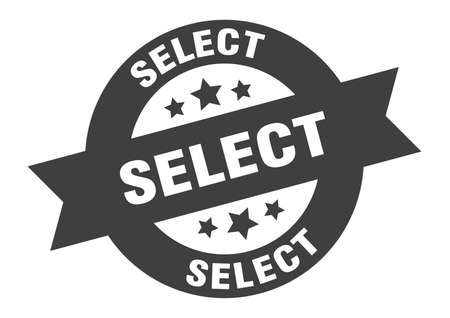 select sign. round isolated sticker. ribbon tag