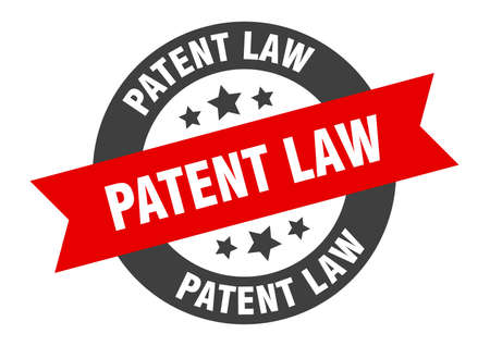patent law sign. round isolated sticker. ribbon tag