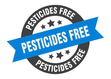 pesticides free sign. round isolated sticker. ribbon tag