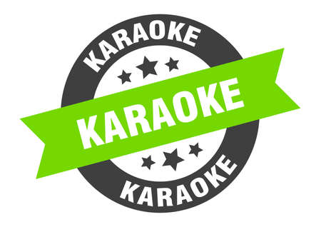 karaoke sign. round isolated sticker. ribbon tag Stock fotó - 154542594