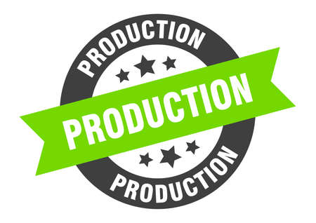 production sign. round isolated sticker. ribbon tag Stock fotó - 154542596