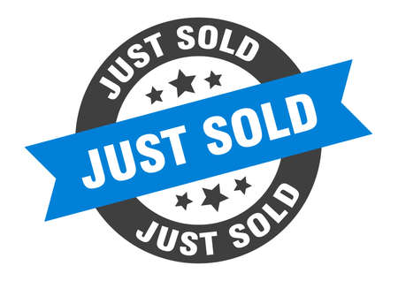 just sold sign. round isolated sticker. ribbon tag Stock fotó - 154542597