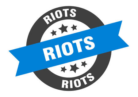 riots sign. round isolated sticker. ribbon tag Stock fotó - 154542601