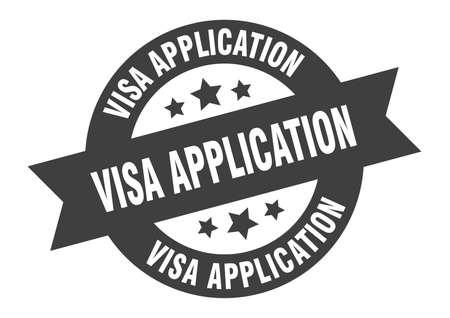 visa application sign. round isolated sticker. ribbon tag Illusztráció