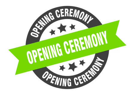 opening ceremony sign. round isolated sticker. ribbon tag Stock fotó - 154542604