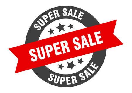 super sale sign. round isolated sticker. ribbon tag Illusztráció