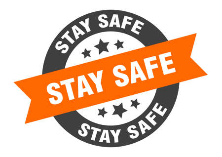 stay safe sign. round isolated sticker. ribbon tag Stock fotó - 154542606