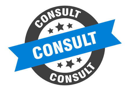 consult sign. round isolated sticker. ribbon tag