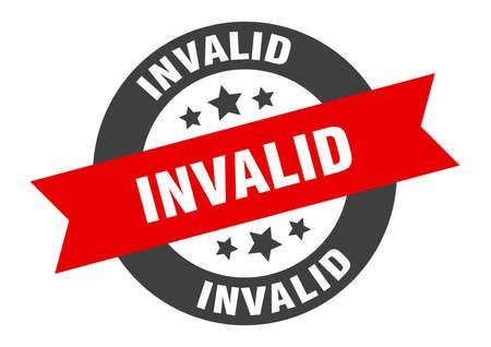 invalid sign. round isolated sticker. ribbon tag Illusztráció