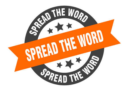 spread the word sign. round isolated sticker. ribbon tag Stock fotó - 154542618