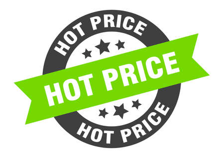 hot price sign. round isolated sticker. ribbon tag Stock fotó - 154542622