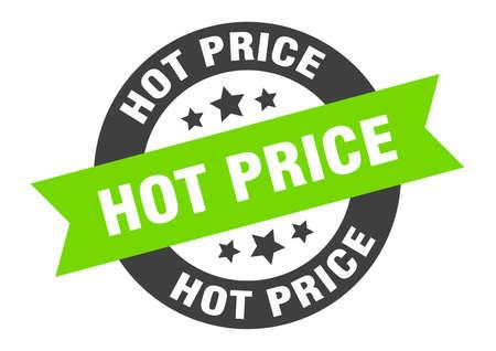 hot price sign. round isolated sticker. ribbon tag Illusztráció