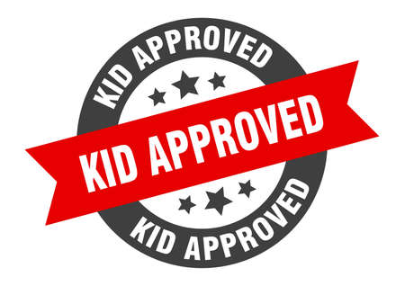 kid approved sign. round isolated sticker. ribbon tag