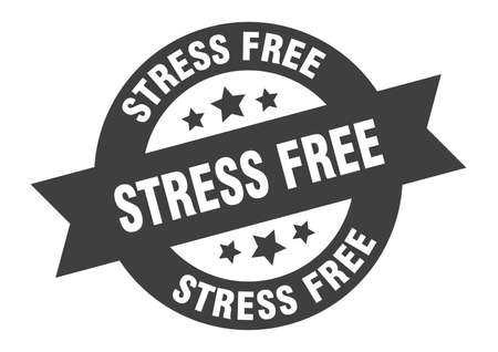 stress free sign. round isolated sticker. ribbon tag Stock fotó - 154542624