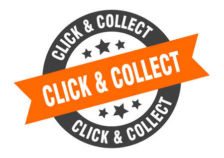 click & collect sign. round isolated sticker. ribbon tag