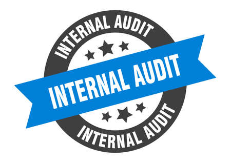 internal audit sign. round isolated sticker. ribbon tag