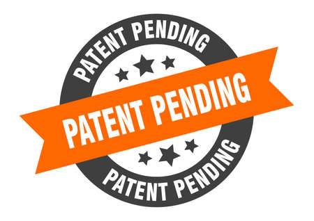 patent pending sign. round isolated sticker. ribbon tag