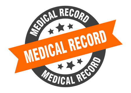 medical record sign. round isolated sticker. ribbon tag