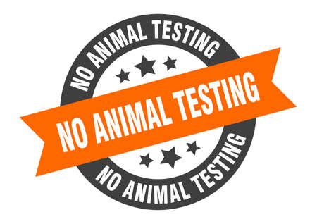 no animal testing sign. round isolated sticker. ribbon tag