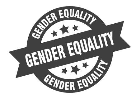 gender equality sign. round isolated sticker. ribbon tag