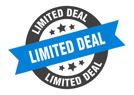 limited deal sign. round isolated sticker. ribbon tag